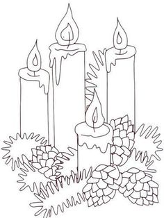 CHRISTmas candles and pinecones Christmas Coloring Pages, Coloring Book Pages, Christmas Templates, Christmas Printables, Christmas Colors, Christmas Art, Christmas Candles, Advent Candles, Theme Noel