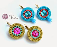 Soutache Jewelry. Artystyczna Biżuteria Autorska Katarzyna Wojtak: #0050 Brisa de Verano. Kolczyki sutasz.