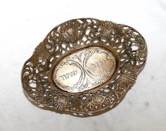 Sterling Silver 800 Germany 19th Century , tray for Shabbat oil lamps