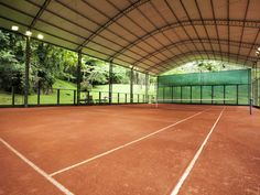 Covered clay tennis court