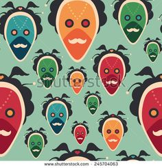 Colorful seamless pattern with extravagant masks. #vectorpattern #patterndesign #seamlesspattern