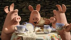 The piggie bullies from Shaun the Sheep! (from the same creators of Wallace and Grommit)