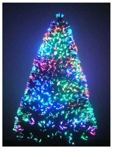Pre-Lit Fiber Optic 7' Green Artificial Christmas Tree with LED ...