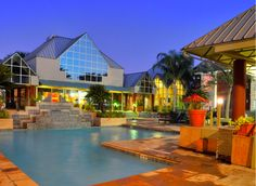 Sunset at the pool - relax after a long day and enjoy a vacation spot not far from your door!