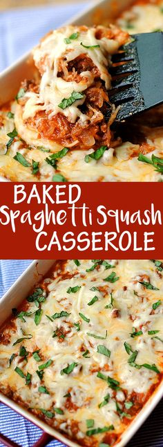 Baked Spaghetti Squash Casserole - not perfectly paleo with cheese.Eat Yourself Skinny Spaghetti Squash Casserole, Spaghetti Squash Recipes, Spaghetti Squash Spaghetti, Spaghetti Squash Lasagna, Low Carb Recipes, Cooking Recipes, Healthy Recipes, Delicious Recipes, Atkins Recipes