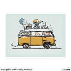 Vintage Volkswagen bus with baby Combi Hippie, Van Drawing, Vw Minibus, Volkswagen Type 3, Vw Camping, Glamping, Bus Art, Combi Vw, Classic Cars