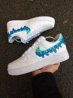 Image of Nike AF1 - Blue Dripping Air Force Shoes 8f4512b43