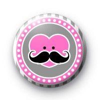 Mustache Heart Pink Button Badges