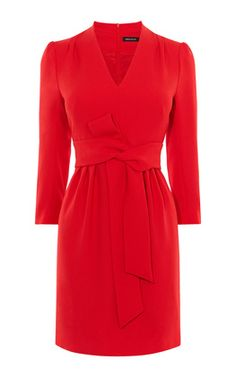 FRONT-KNOT CREPE DRESS