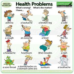 Health Problems in English - An ESL Chart