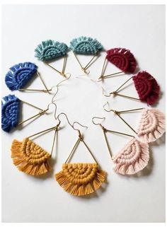 Macrame Earrings Tutorial, Earring Tutorial, Diy Earrings, Tassel Earrings, Macrame Tutorial, Diy Thread Earrings, Bracelet Tutorial, Micro Macrame, Macrame Knots