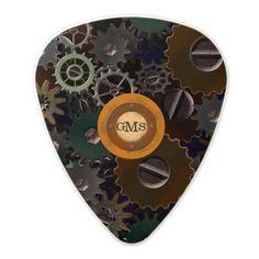 #steampunk #clockworkgears #monogrammed #guitarpick Look for the matching guitar case!