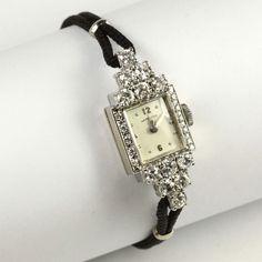 Ladies Vintage 14k White Gold Hamilton Diamond Dress Watch | eBay