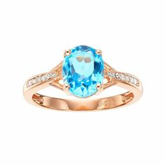 14k Rose Gold Over Silver Blue Topaz & Diamond Accent Oval Ring, Women's, Size: 5