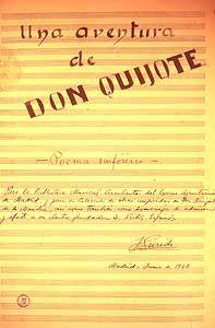 Jesús Gurudi. «Una aventura de don Quijote». Primer folio del poema sinfónico con dedicatoria y firma autógrafas. Biblioteca Musical Municipal.