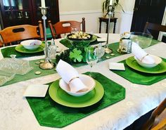 Continuing with my #potofgold #theme, our #diningroom #table is ready for this #holiday as well. The #centerpiece is a play off of the #DIY that I previously shared using Christmas ornaments and decorative #goldcoins. Coupled with the different tones and shades of #green, this table is certainly ready for #stpatricksday! 💰💚🍀☘️ #table #tablescape #tablesetting #tabledecor #theme #themeddecor #stpattysday #stpatricksdaydecor #decoration #decorations #decorative #homedecor #diningroom