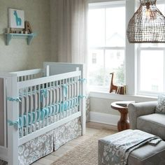 Taupe Suzani Crib Bedding | Brown and Blue Large Pattern Crib Bedding | Carousel Designs
