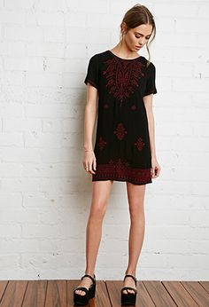 Embroidered Peasant Dress | Forever 21 - 2000141394