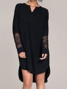Black Crochet Sleeve Panel Dipped Dress Top Blůza 9e90780d28d