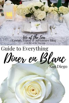 Your guide to the best secret event of the year! Learn the history of Diner en Blanc, how it works, how to get an exclusive invite, and where to get everything you need to attend! San Diego Events, Southern California, California Travel, Invite, Invitations, Le Diner, Entertaining, History, Party