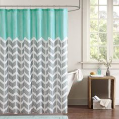 Home Essence Apartment Darcy 100% Microfiber Printed Shower Curtain, Blue