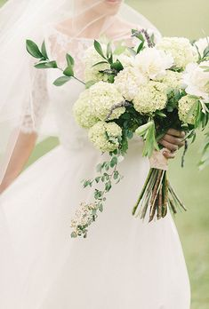 Organic Bouqute With Hydrangeas, Peonies, and Greenery | Brides.com