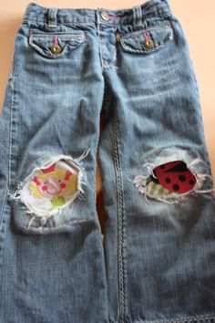 Patch kids jeans with the pictures on old stained shirts.