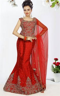 Picture of Dazzling Red Color Art Silk Indian Wedding Lehenga Choli