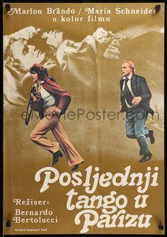 1 of 1 : 9b388 LAST TANGO IN PARIS Yugoslavian 19x27 '73 Marlon Brando, Maria Schneider, Bertolucci