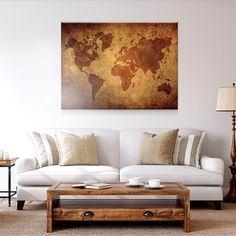 This rustic map of the world is a must have! World Map Decor, Personalised Canvas, Unique Wall Art, Artwork Prints, 1 Piece, Living Room Decor, Vintage World Maps, Raves, Rustic