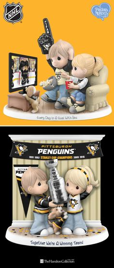 They came and they conquered! Now it's time to party! These Precious Moments cuties are wasting no time celebrating their favorite team, the Pittsburgh Penguins. Bring a double dose of joy to your home with this cute couple: