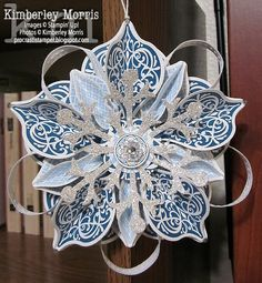 Stampin Up Tutorials 2012 | Holiday Catalog Cover Ornament (Blue, White & Silver)