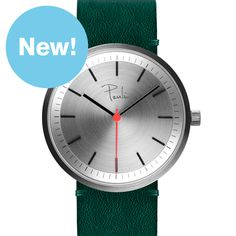S75-D (brushed/green) watch by Paulin. Available at Dezeen Watch Store: www.dezeenwatchstore.com
