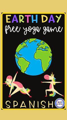 Yoga Games, Spanish 1, Spanish Classroom, Free Yoga, Education System, Yoga For Kids, Spanish Language, Earth Day, Catholic