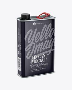Glossy Tin Can Mockup – Half Side View