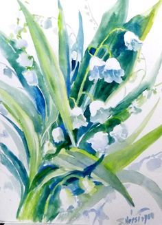 Watercolor lily of the valley May