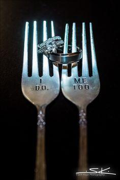 ring shot, wedding rings, cake forks #ring #ringshot #weddingrings #cakeforks
