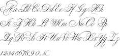 This is a great font to practice calligraphy! The uppercase letters are extremely ornate, but the lowercase letters are very basic and help with consistency. Graffiti Alphabet Styles, Calligraphy Letters Alphabet, Pretty Letters, Classic Fonts, Doodle Lettering, Typographic Design, Monogram Design, Tattoo Fonts, Wedding Calligraphy