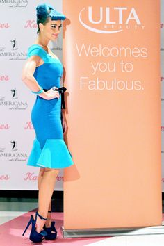 Lady in blue, Katy Perry at the ULTA Beauty - Eylure lashes event to celebrate her new lash collection