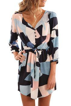 Sumen Women Stripe Printed Long Sleeve Button Bandage Belt Chemise Long Dress