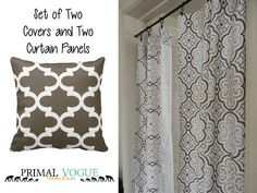 SET Blue Coral Curtain Panel and Pillow by PrimalVogueHomeDecor