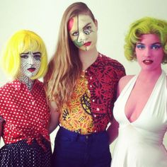 Here's model Megan Fay, appearing as Andy Warhol's iconic Marilyn Monroe, with two other models dressed and painted to look like works by Pablo Picasso and Roy Lichtenstein. They were decorated this way for a Halloween event by the fashion company American Apparel.