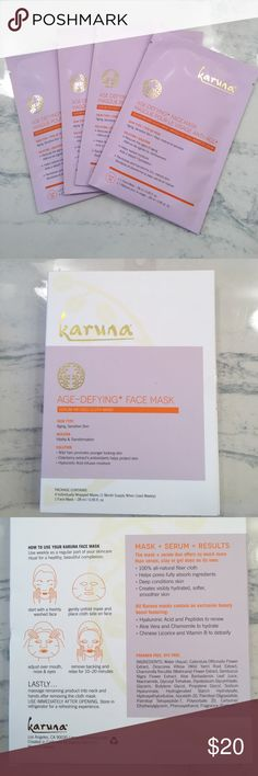 Karuna Age Defying face sheet mask Karuna age defying Face sheet mask. Sheet masks are so popular right now. 4 masks in a box. These retail for $8 each. For aging sensitive skin. These are always sold out at Ulta and Sephora! Karuna masks are amazing-trying to clear out some of my collection. Expires 11-2019 Sephora Makeup