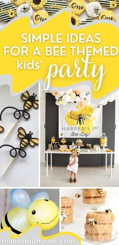Bee Party Decorations + Ideas for a Birthday or Baby Shower! Bee Party: Buzz-worthy Bee Party Ideas. Throwing a Bee Party or Mom to Bee Baby Shower? I have some fun Bumblebee ideas to share with you today! Celebrate your sweet as honey loved one with a fun little bee themed party! Ready to party like a bumblebee? #bee #beeparty #beeday #mamatobee #babyshower #birthdayparty #partyideas Birthday Party Treats, 1st Birthday Party For Girls, 1st Birthday Party Decorations, Summer Birthday, Girl Parties, Bee Party, Spring Party, Bee Theme, Babyshower