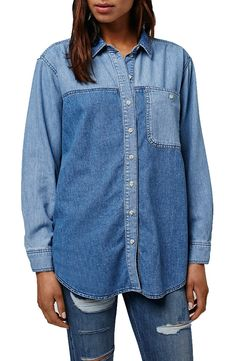 Two tones of blue denim create a contemporary feel on this oversize single-pocket denim shirt from Topshop.