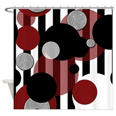 Bathroom Rugs Ideas | CafePress  Red Black Stripes Dots Shower Curtain  Decorative Fabric Shower Curtain ** Learn more by visiting the image link.(It is Amazon affiliate link) #country