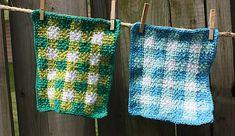 Gingham dishcloth by Lily/ Sugar'n Cream. Free crochet on Ravelry