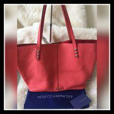 Rebecca Minkoff Pebbled Leather Unlined Studded Tote Shoulder Bag ~ $275…