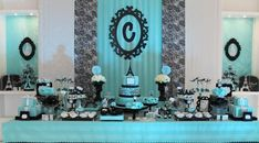 12 anos da Carol no tema Paris Tiffany – Inspire sua Festa ® 15 años Tiffany E Co, Tiffany Blue Party, Tiffany Birthday Party, Paris Birthday Parties, Paris Party, Paris Theme, Barbie Birthday, Blue Birthday, 16th Birthday