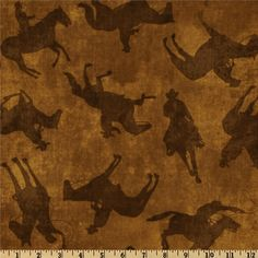 Western Novelty Fabric by the Yard, Cotton, Quilt, Cowboy, Horse, Hat, Shadow, Lasso, Rodeo, Large Print, Brown, Home, Decor, Craft by BirdOnABough on Etsy